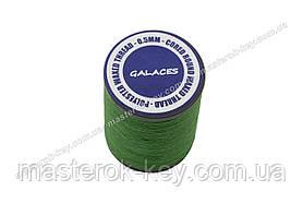 Galaces 0.50 мм зелена (S035) нитка кругла плетені з 8 ниток вощений по шкірі