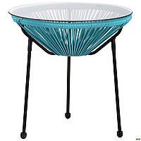 Круглый стеклянный столик Agave плетение искусственный ротанг голубого цвета