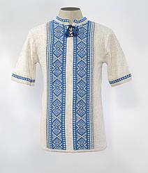 Мужская вязаная футболка с голубым орнаментом