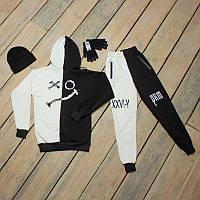 Зимний спортивный мужской костюм черный с белым + шапка +сенсорные перчатки