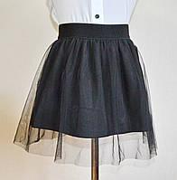 Детская школьная юбка черного цвета на девочку 5-10 лет фатиновая, фото 1