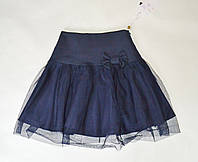Детская школьная юбка синего цвета на девочек 5-10 лет с фатином, фото 1