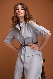 Длинное платье рубашка в стиле сафари изо льна серого цвета, размер от 42 до 50