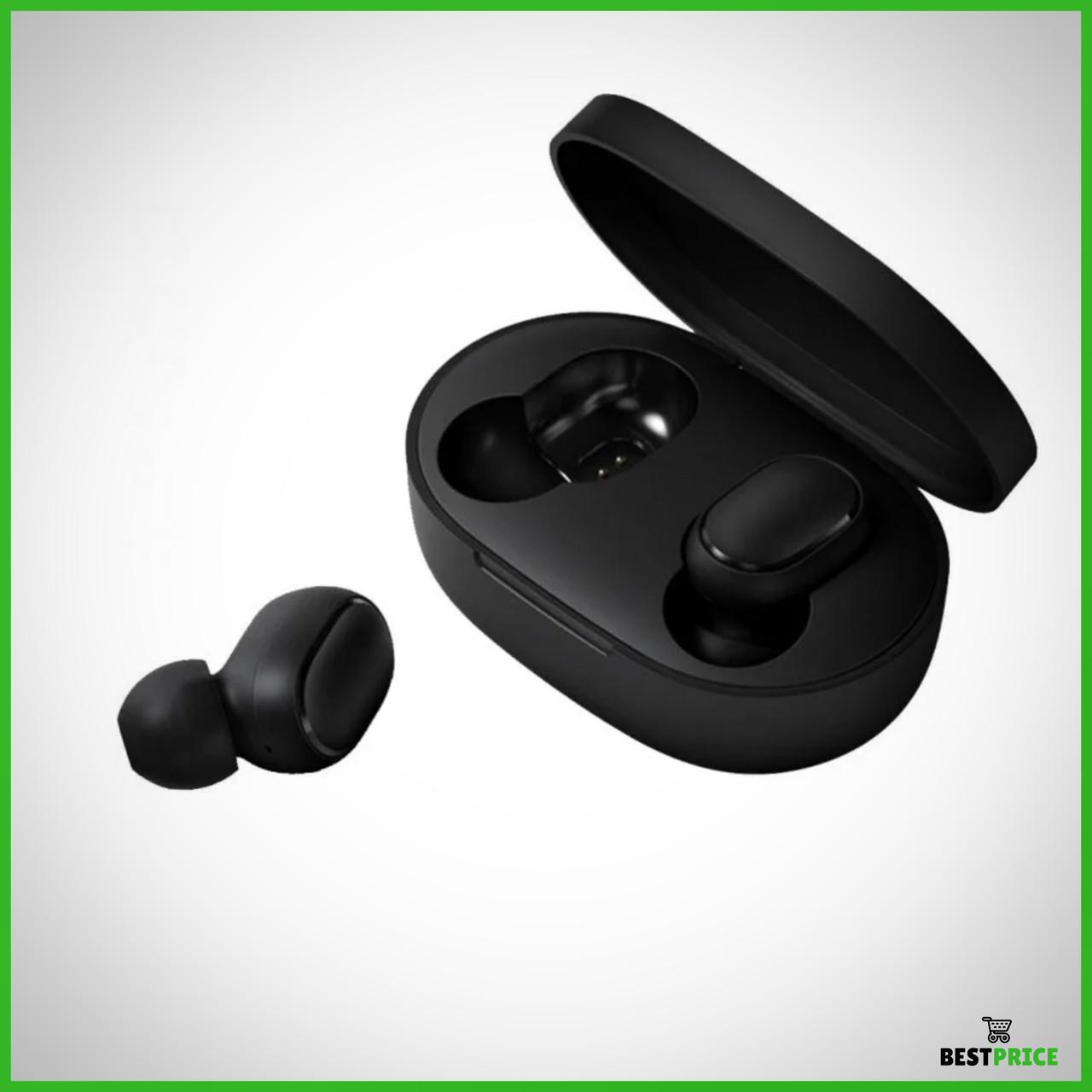 Наушники Xiaomi AirDots Redmi Mi Bluetooth-гарнитура с боксом для зарядки Black (Люкс реплика)