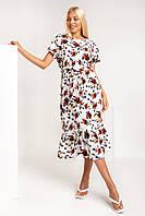 Платье длинное, полуприлегающего силуэта с слегка удлиненным плечом из ткани лен