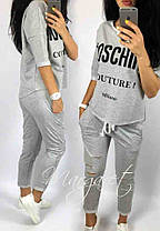 Костюм жіночий літній з вільної кофтою і укороченими штанів moschino, фото 2