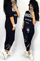 Костюм женский летний со свободной кофтой и укороченными штанам moschino, фото 3