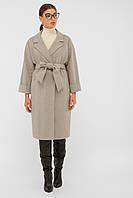 Женское демисезонное пальто халат в бежевом цвете П-300-100
