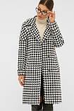 Женское пальто демисезонное с принтом гусиная лапка П-399-100, фото 2