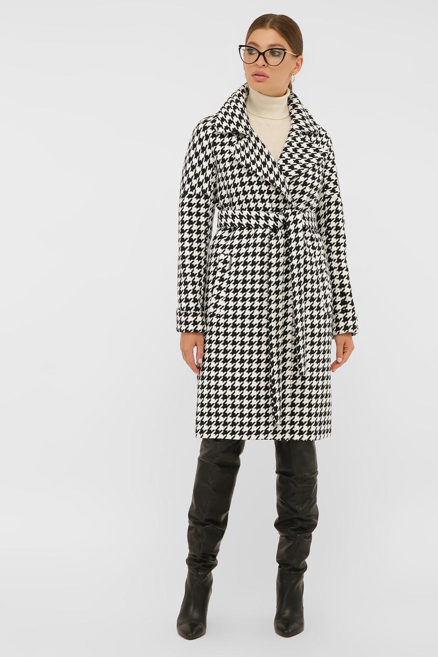 Женское пальто демисезонное с принтом гусиная лапка П-399-100