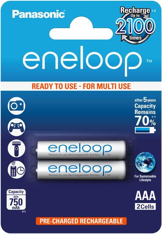 Аккумулятор Panasonic Eneloop BK-4MCCE/2BE, AAA/(HR03), 750 mAh, LSD Ni-MH, блистер 2шт