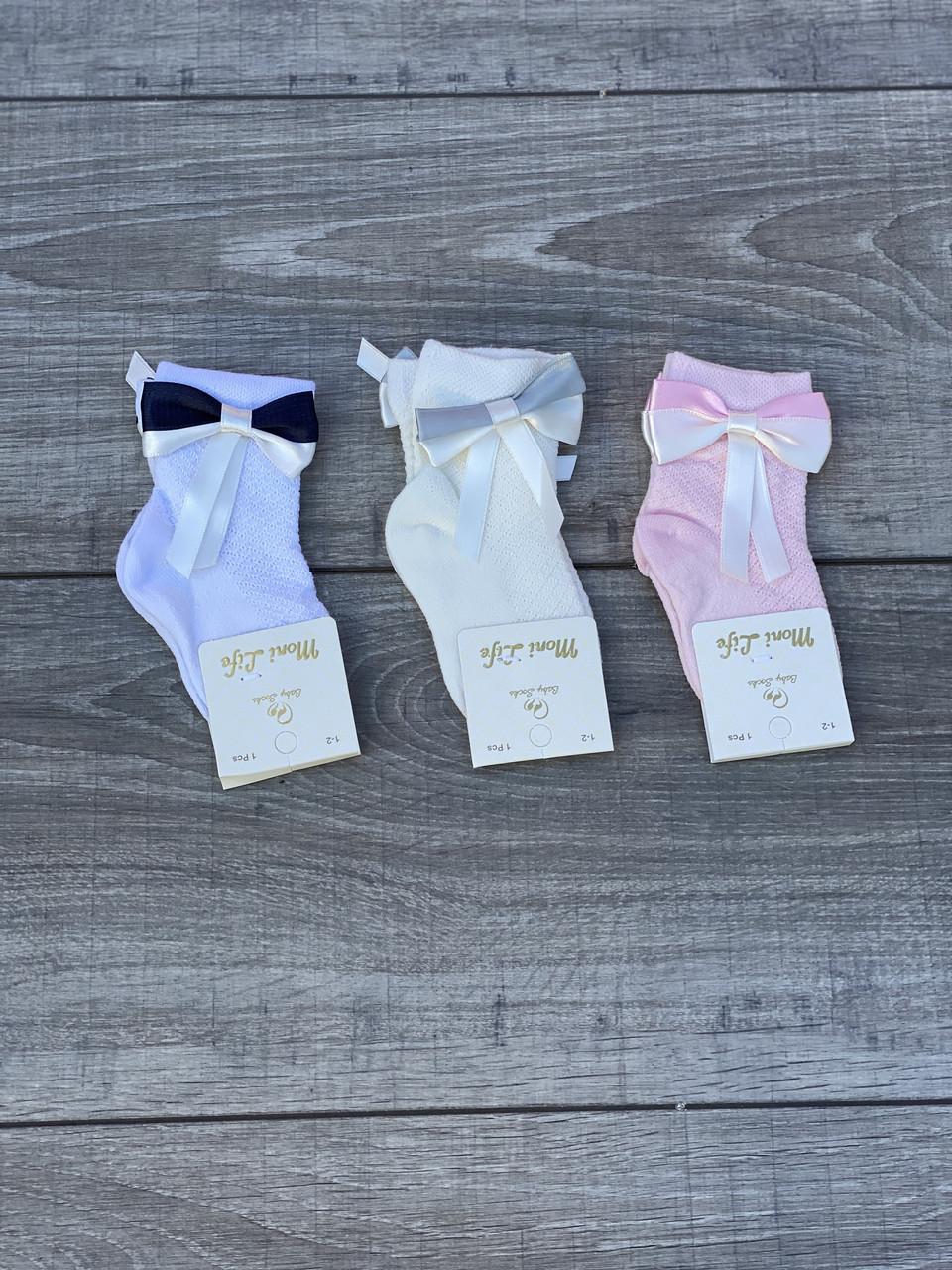 Дитячі шкарпетки бавовна Moni Life для дівчаток 0-1,1-2,3-4 року 12 шт в уп світле асорті з бантиками