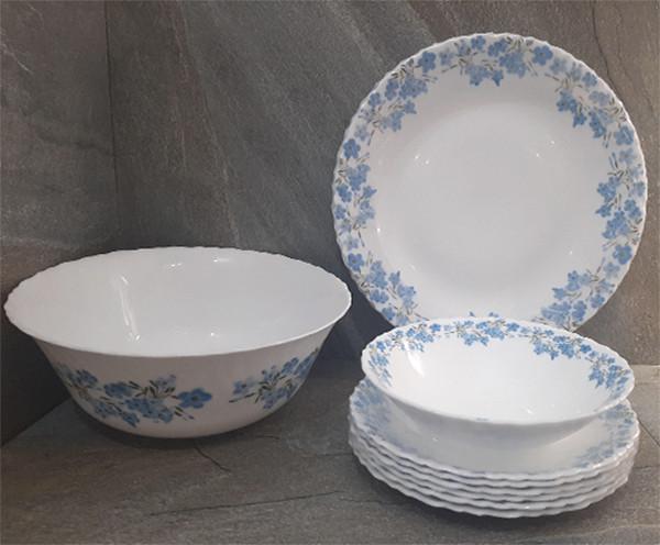 Столовый набор стеклокерамический белый с голубыми цветами Luminarc Spring Leaves 19 предметов (Q0389)
