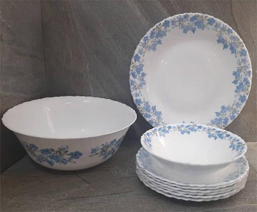 Столовый набор стеклокерамический белый с голубыми цветами Luminarc Spring Leaves 19 предметов (Q0389), фото 2