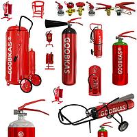 Вогнегасники і комплектуючі порошкові, вуглекислотні, водопінні, спреї