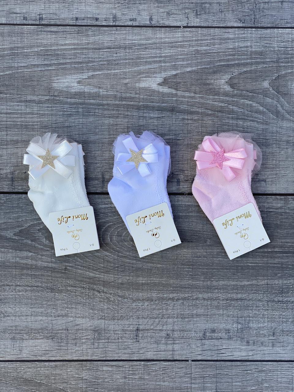 Шкарпетки дитячі Moni Life бавовняні для дівчаток 0-1,1-2 3-4 роки 12 шт в уп світле асорті з бантиками