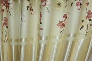 """Ткань атласный блэкаут с принтом """"Фотошторы"""" цвет оливковый с бежевым. Высота 2,7м.  560ш"""