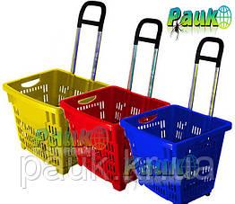 Корзина торговая 55л, корзина покупателя с колесами и выдвижной ручкой