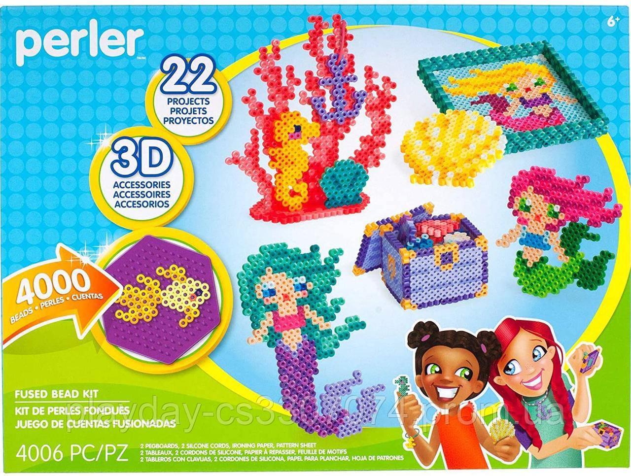 Набор 3D термомозаики для девочек от Американской фирмы Perler. 22 дизайна на тему русалок и океана