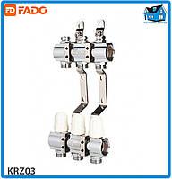 """Коллектор с запорными клапанами FADO FLOOR KRZ03 1""""х3/4"""" 3 выхода"""