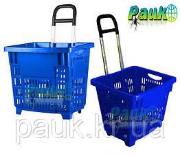 Пластиковая торговая корзина 55 л на колесах