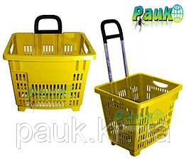 Корзина торговая пластиковая 55 л на колесах