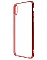 Чехол силиконовый для Samsung Galaxy A51 A515F прозрачный с красной рамкой (самсунг а51 а515ф)