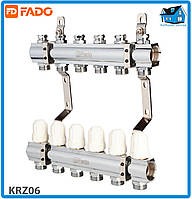 """Колектор з запірними клапанами FADO FLOOR KRZ06 1""""х3/4"""" 6 виходів"""