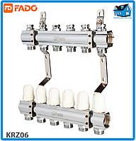 """Коллектор с запорными клапанами FADO FLOOR KRZ06 1""""х3/4"""" 6 выходов"""