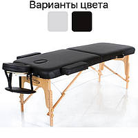 Масажний стіл дерев'яний 2-х сегментний RESTPRO VIP 2 кушетка масажна для масажу Чорний