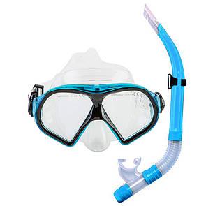 Набор для плавания маска с трубкой Dolvor M9510P+SN52P голубой