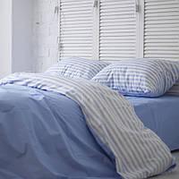 Комплект постельного белья Хлопковые Традиции Евро 200x220 Голубой с белым PF048евро, КОД: 740592
