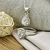 Серебряный набор ТС9510105Н цепочка 45х0.1 + кольцо размер 18.5 + кулон 18х10 мм вставка белые фиани, фото 3