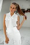 Летняя шифоновая блуза с воротником аскот белая, фото 2
