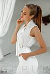 Летняя шифоновая блуза с воротником аскот белая, фото 3