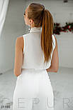 Летняя шифоновая блуза с воротником аскот белая, фото 4