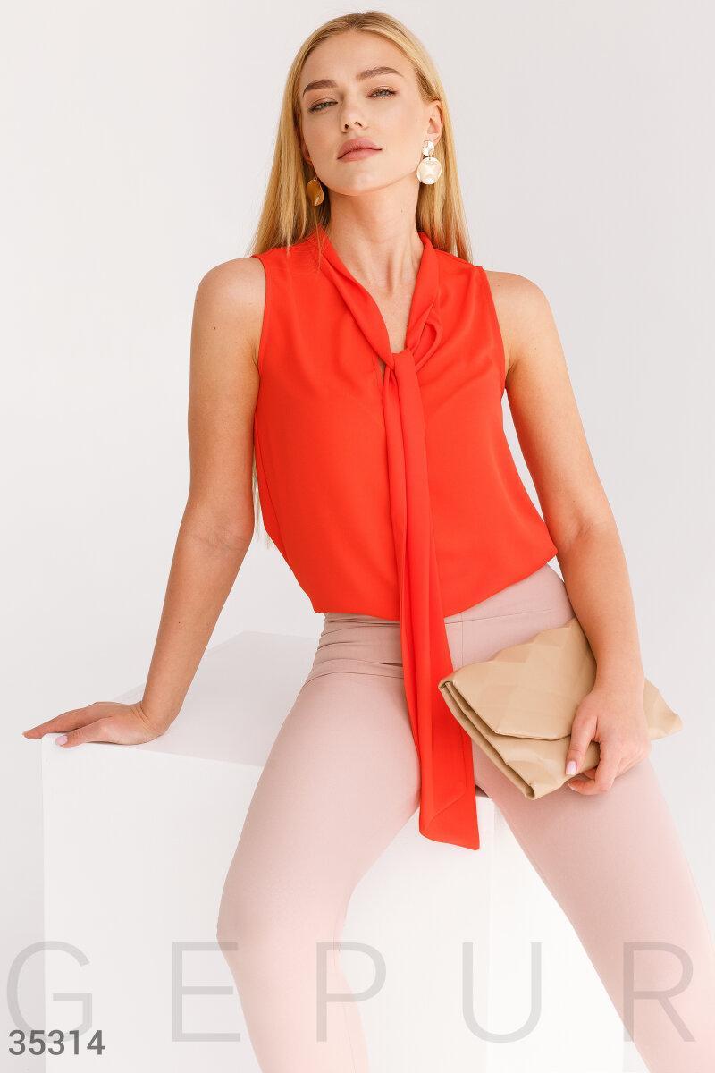 Летняя шифоновая блуза с воротником аскот оранжевая