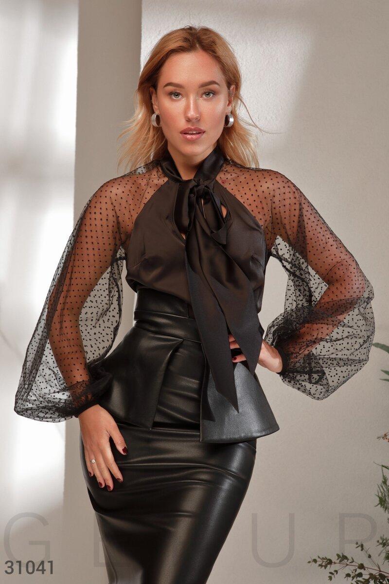 Шовкова блуза з сіткою в горошок