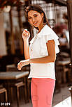 Шифонова блуза з воланами на рукавах біла, фото 3