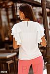 Шифонова блуза з воланами на рукавах біла, фото 4