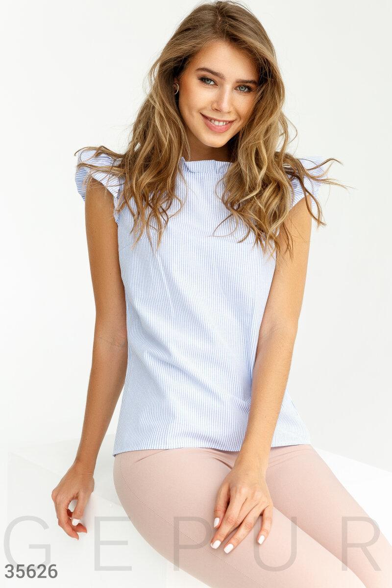 Хлопковая блуза в полоску с воланами