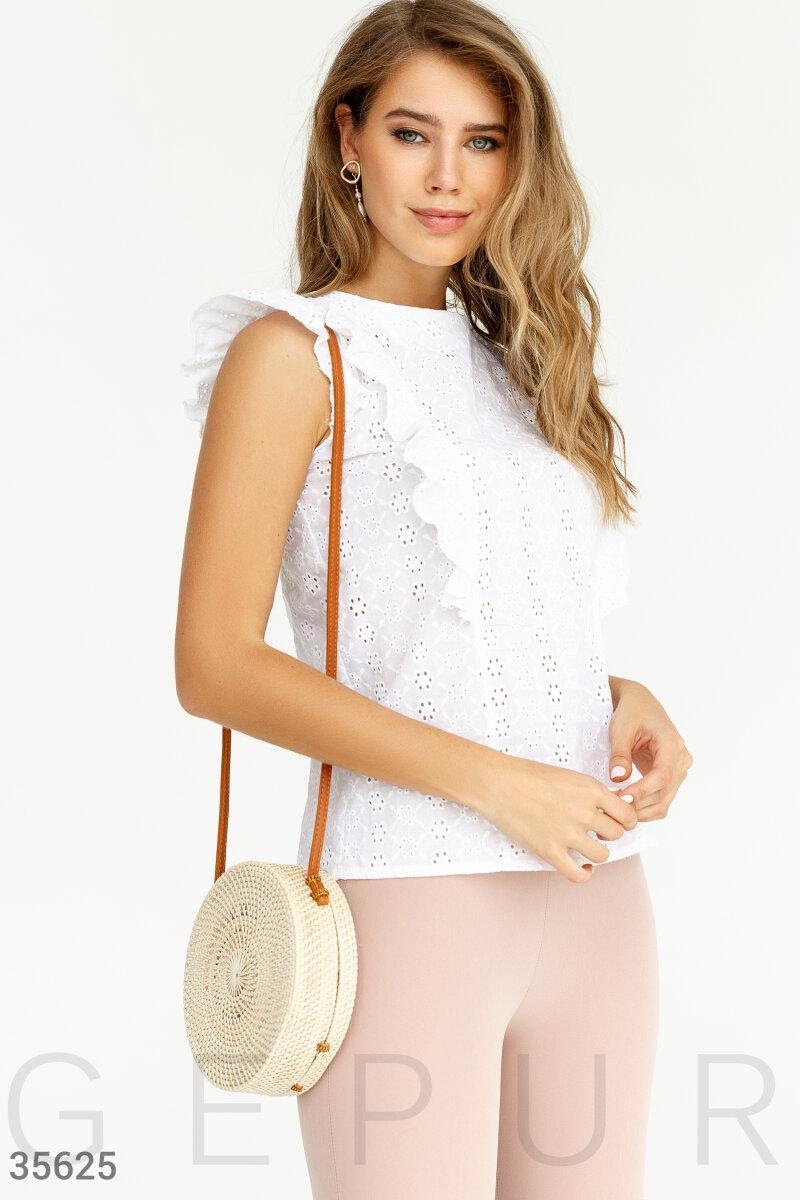 Бавовняна літня блуза з вишивкою