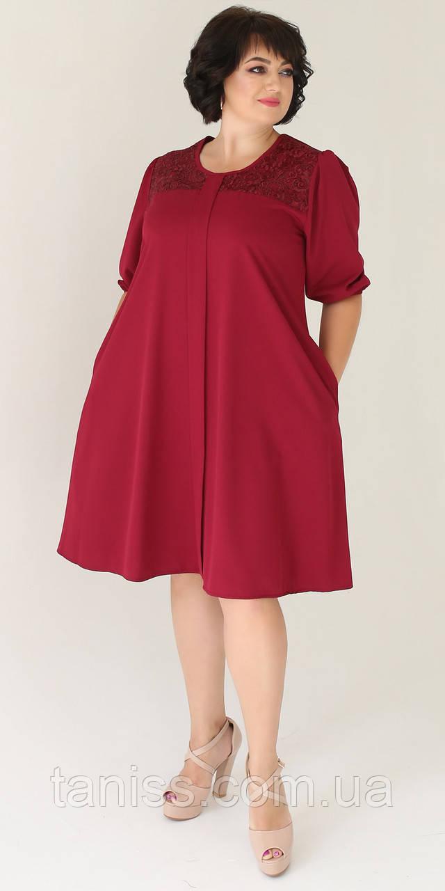 Женское нежное платье , ткань шелк , р-р ,52,54,56,58  (2004)  бордовое ,сукня
