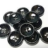 Пуговица пластиковая, диаметр 1,5 см, цвет чёрный с серыми вкраплениями., фото 3