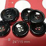 Пуговица пластиковая, диаметр 1,5 см, цвет чёрный с серыми вкраплениями., фото 2