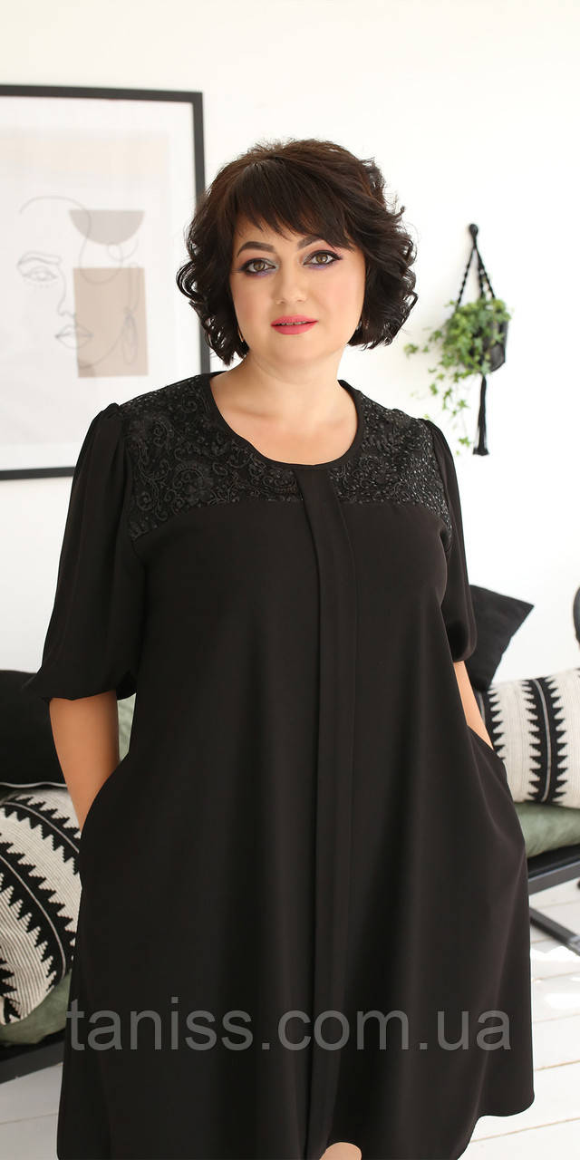 Женское нежное платье , ткань шелк , р-р ,52,54,56,58  (2004) черное ,сукня