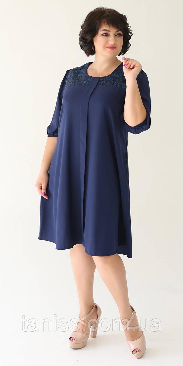 Женское нежное платье , ткань шелк , р-р ,52,54,56,58  (2004) т. синее ,сукня