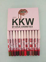 Матовая помада карандаш Kylie KKW Matte Lipstick Pencil 12шт, набор помад Kylie, мегатоп