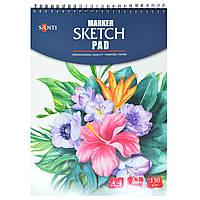 Альбом для маркеров А4, 32 лист, 130гр, Marker sketch pad  Santi 742612, фото 1