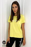 Женская футболка желтого цвета с надписью. Модель 25608., фото 1